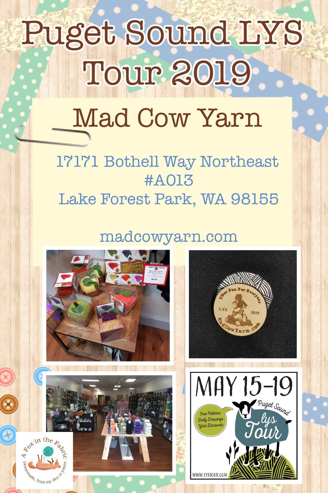Puget Sound LYS Tour 2019 Mad Cow Yarn
