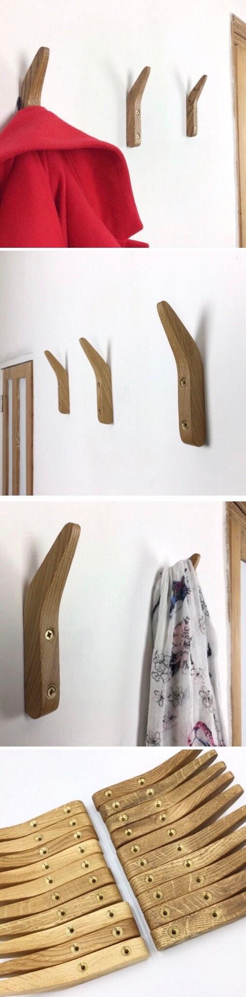 Gorlech Single Coat Hooks in light and dark Oak wood, handcrafted in Wales, UK