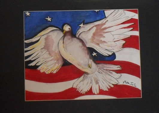 July 4th The Holiday to do ,Dove and Usa Flag..