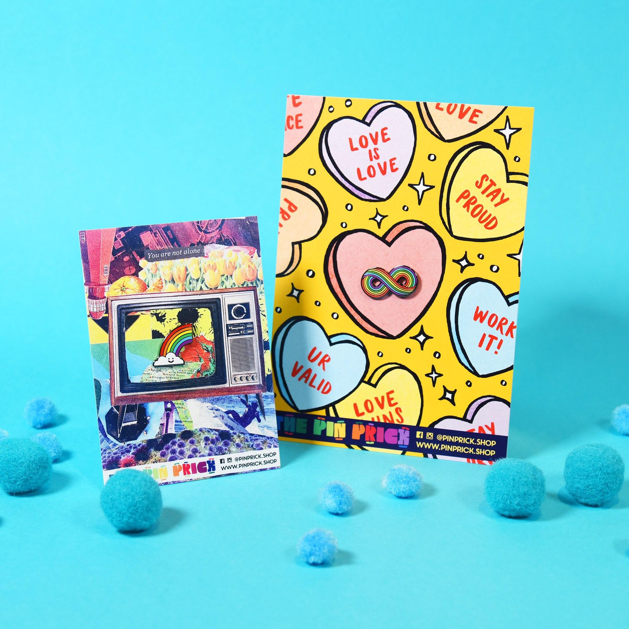 Rainbow Gay Enamel Pin Backing Card Design Ideas Collage Sophie McTear Ryan Berberet