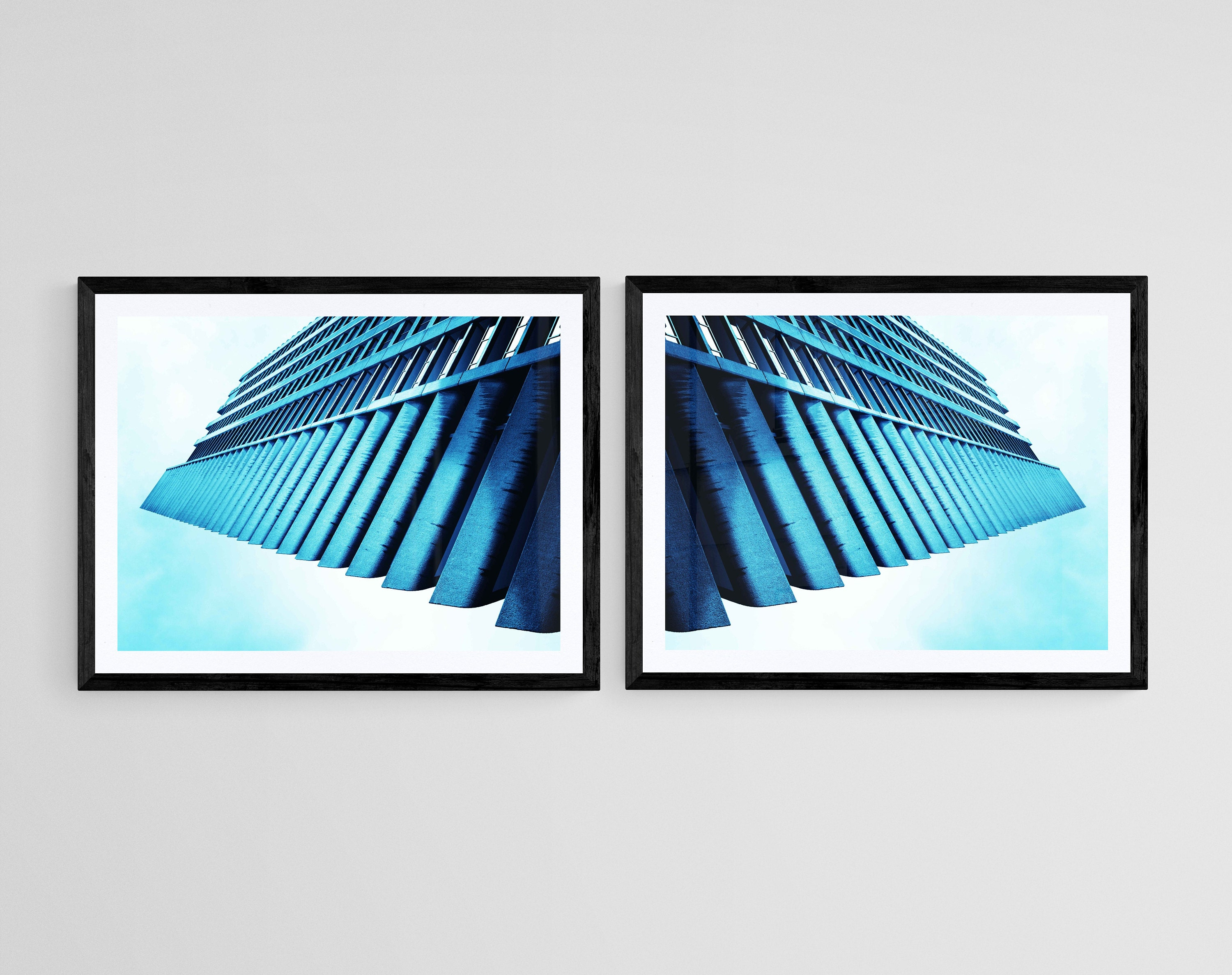blue london barbican wall art- fine art photography of the barbican turned into abstract contemporary wall art in various sizes- available as a diptych- installation of two artworks, unframed or ready to hang art