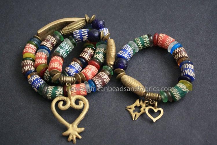 Ghana traditional wedding headpiece and bracelet