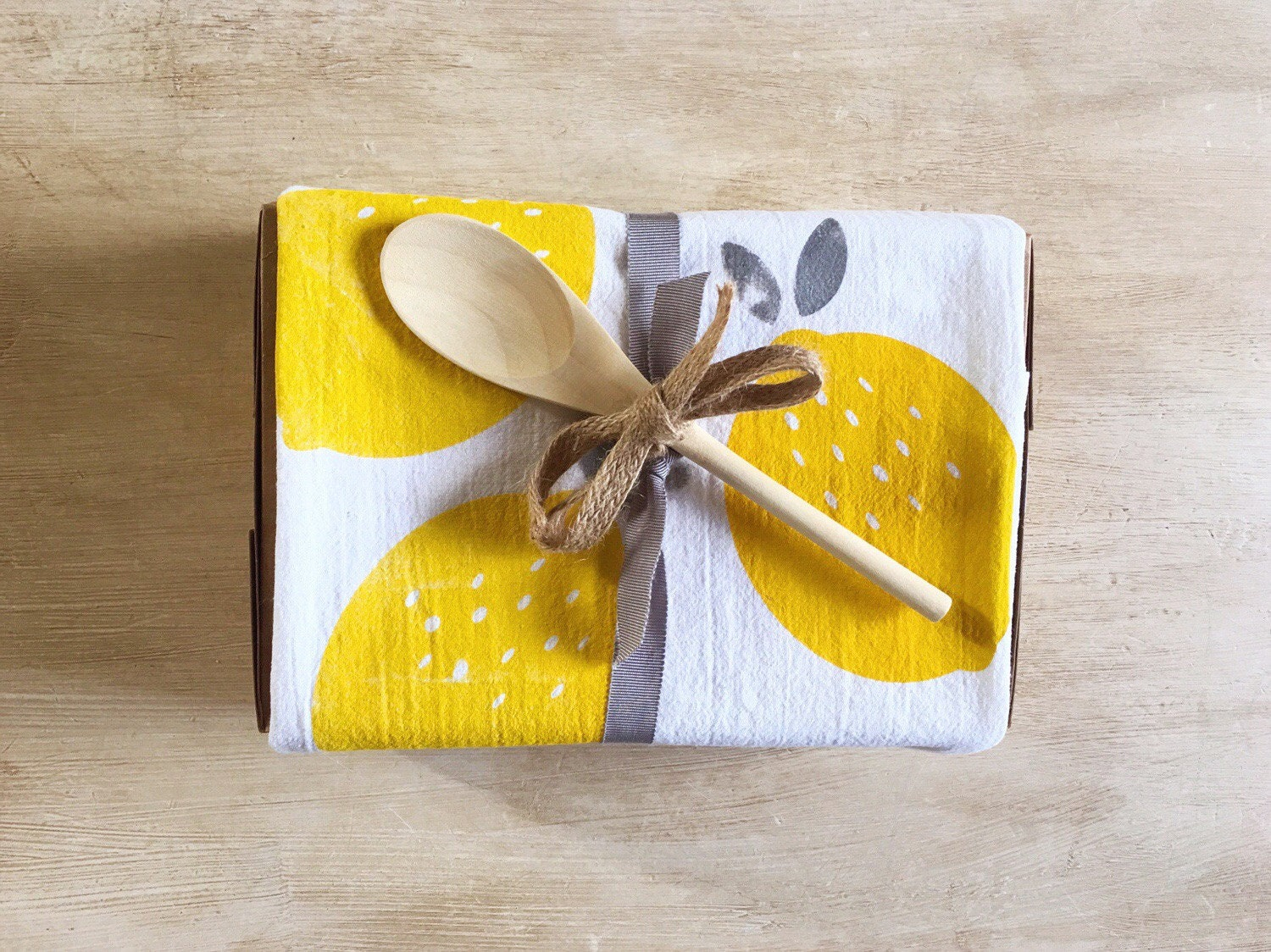 Lemon Flour Sack Towel Gift Packaging