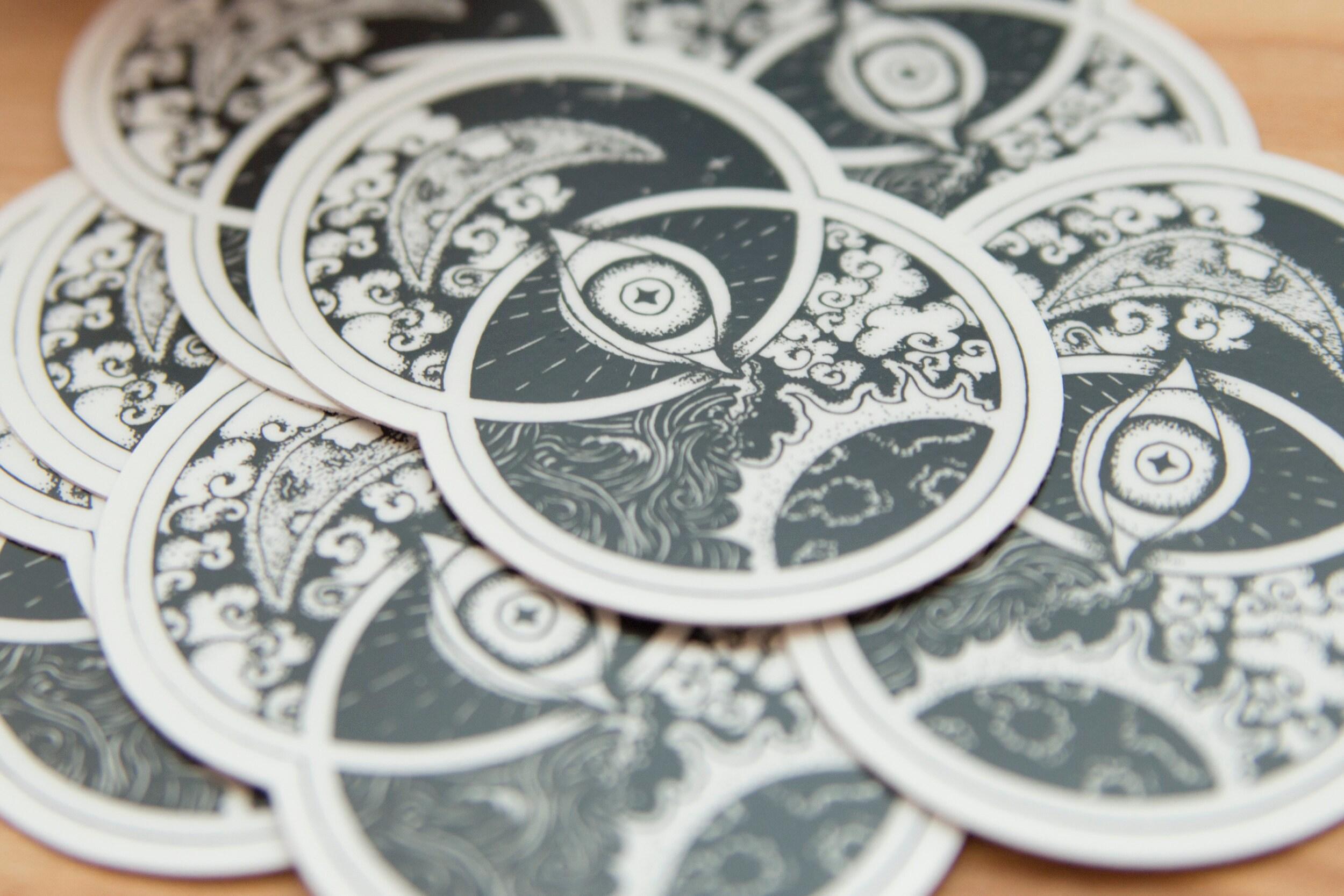 vesica piscis, sticker, sacred geometry, all seeing eye, premium vinyl sticker