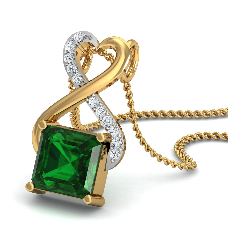 Diamond Emerald Pendant by Gem Select Crafts