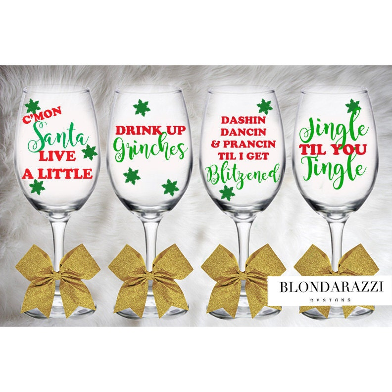 christmas wine glasses for friends coworker christmas party white elephant gifts