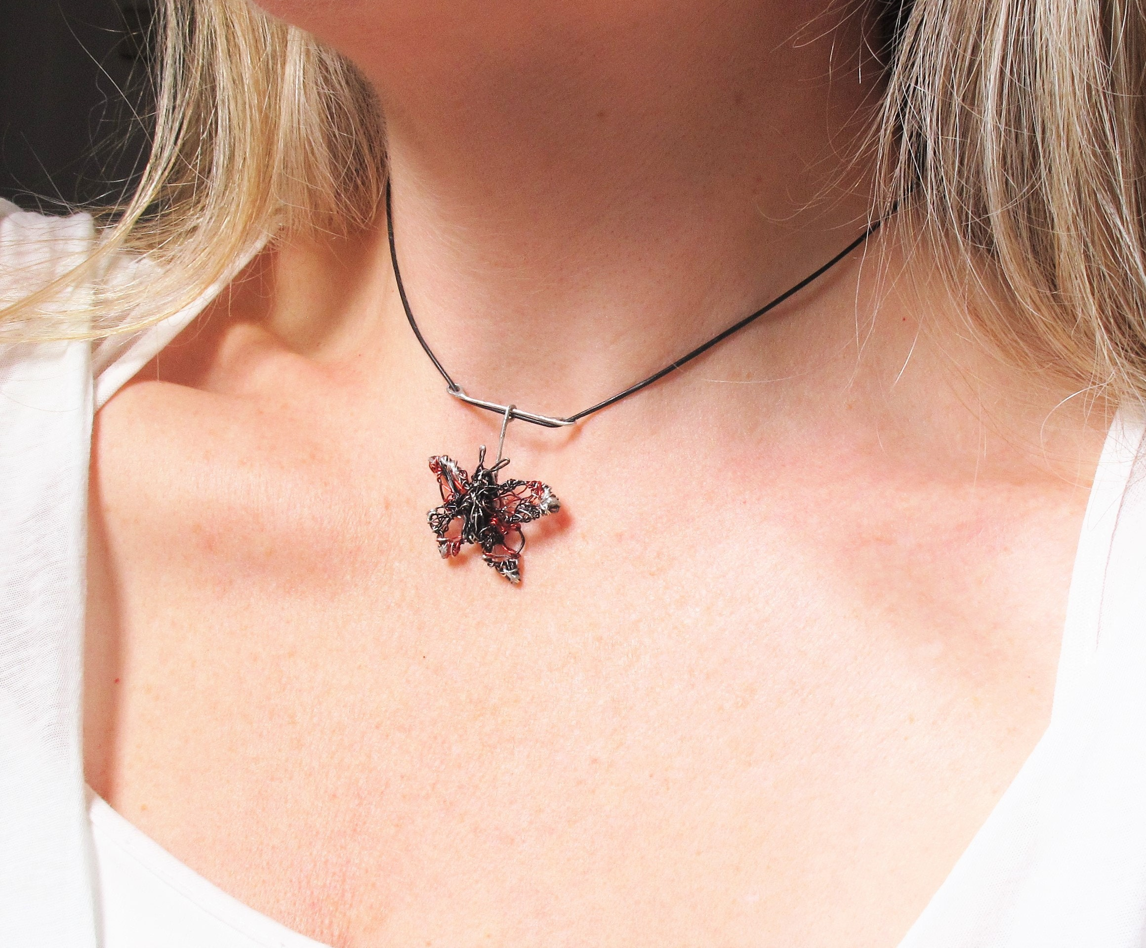 black butterfly, butterfly necklace