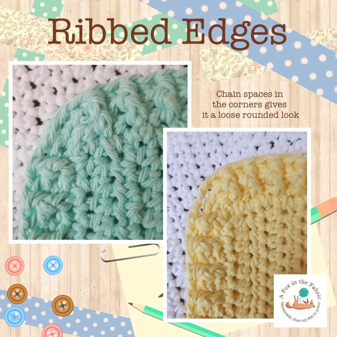 Ribbed Edges On The Crochet Dishcloth