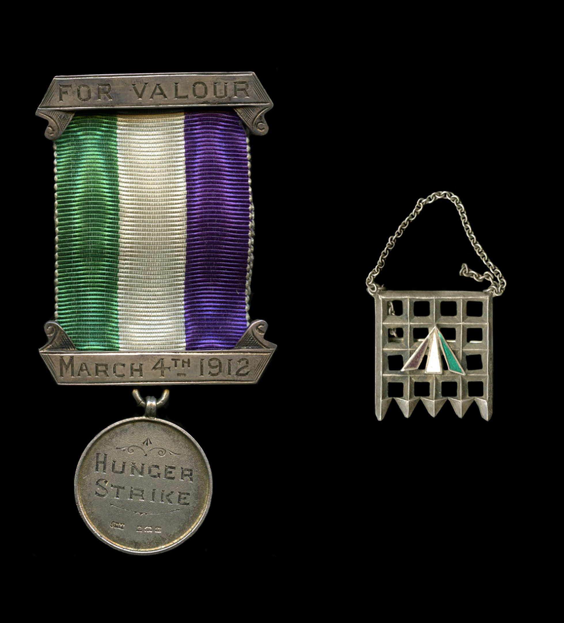 Holloway Brooch and Suffragette Ribbon