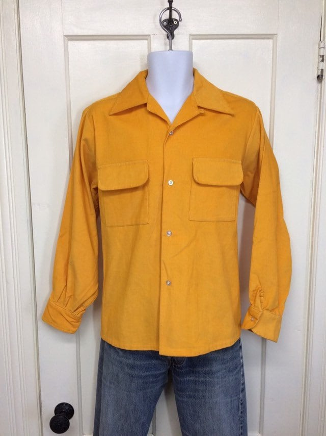1960s bright yellow corduroy board shirt by Van Heusen, size medium