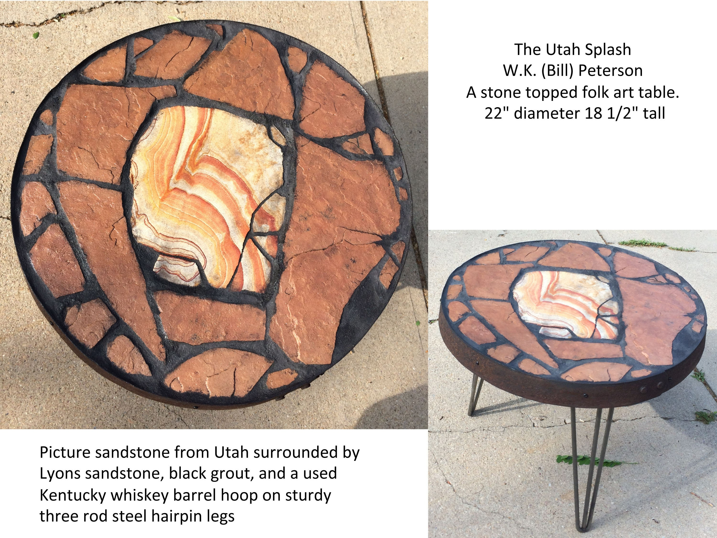 Finished table showing the hairpin legs and rim made from a used whiskey barrel hoop.
