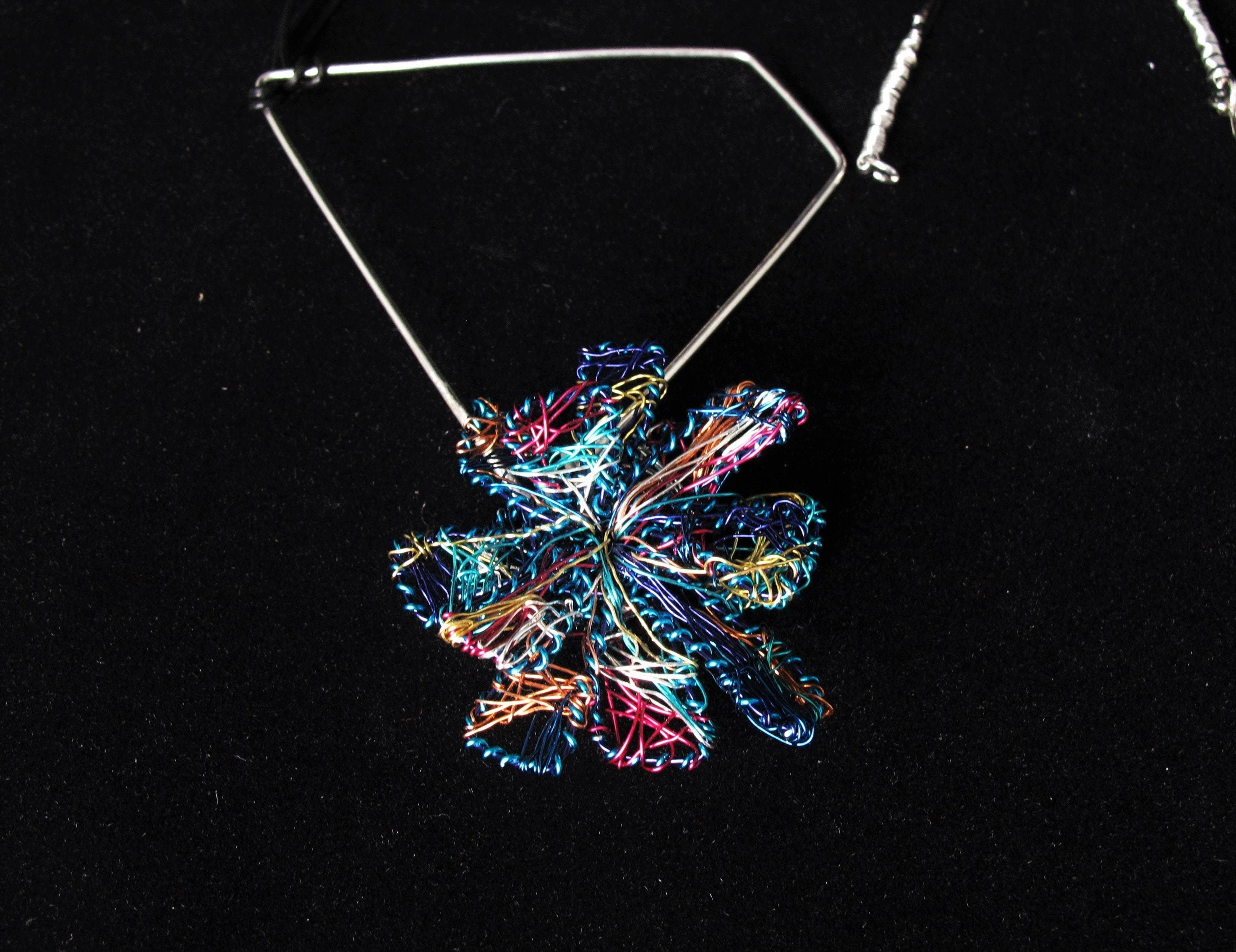 Wire Art Blue Flower Necklace One Of A Kind