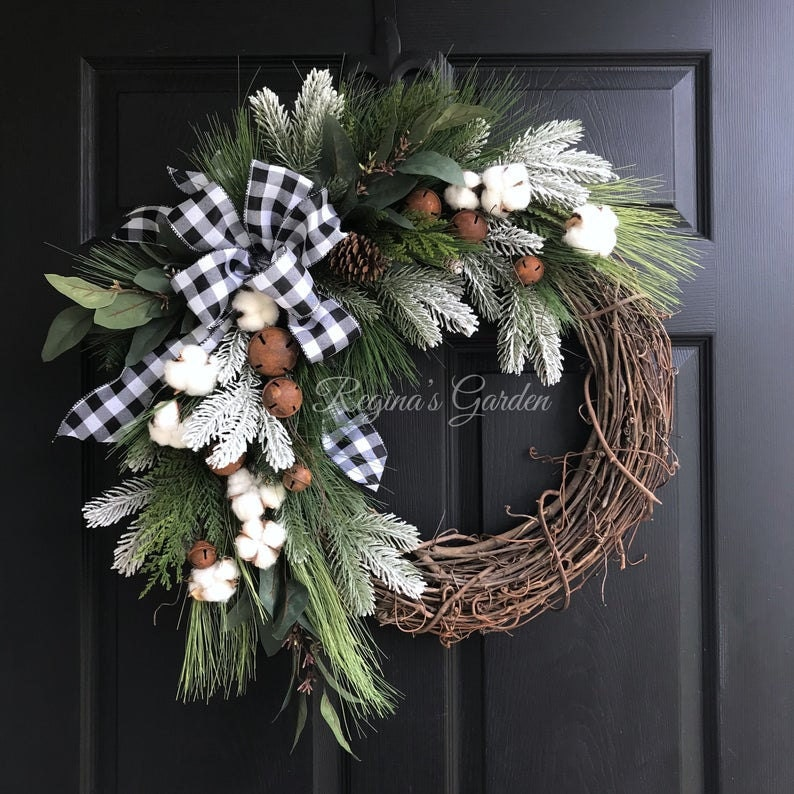 Buffalo Plaid and Pine Christmas Wreath