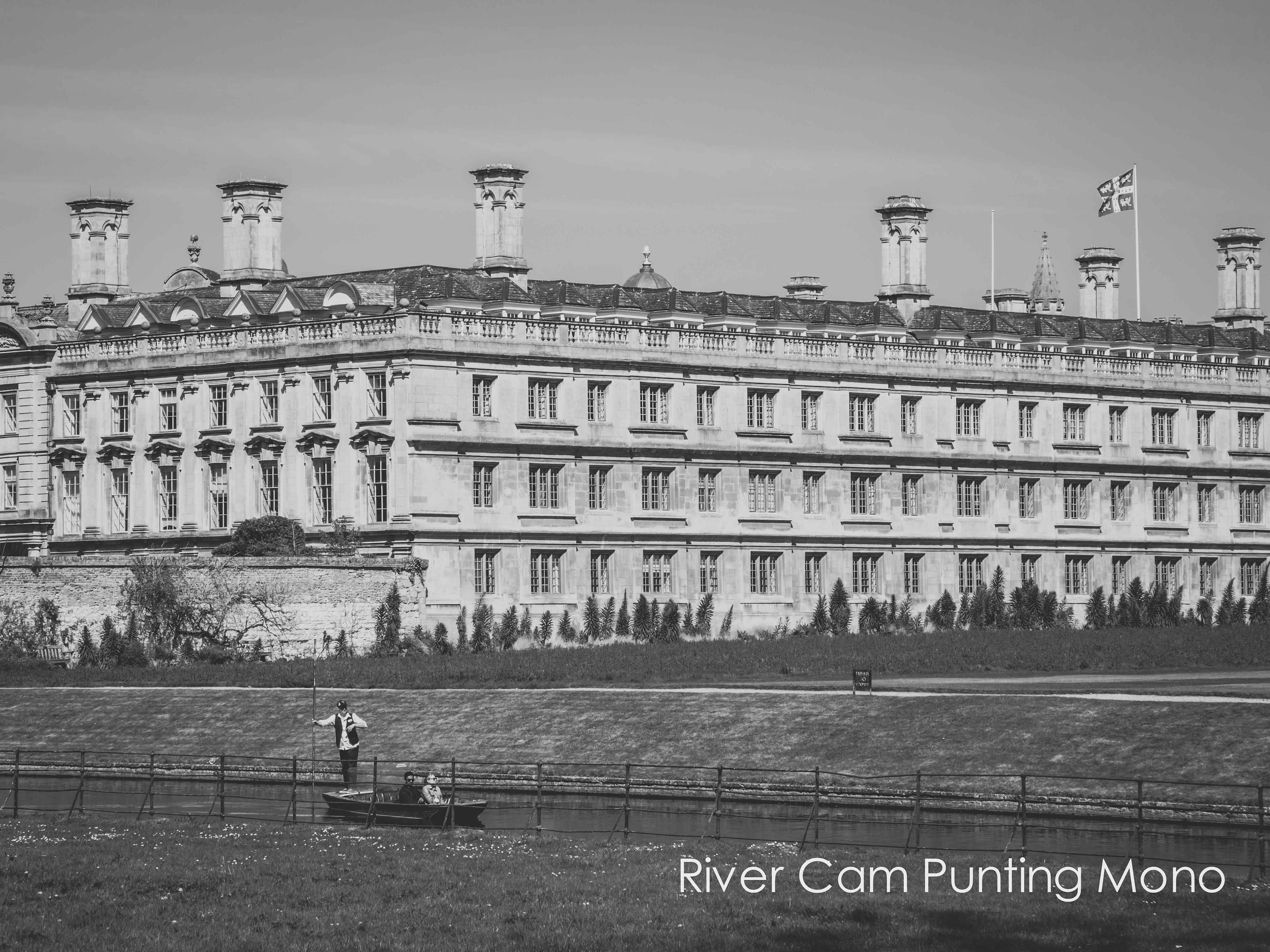 punting in cambridge in front of kings college cambridge university in black and white in various sizes and finishes including ready to hang wall art and limited edition fine art prints