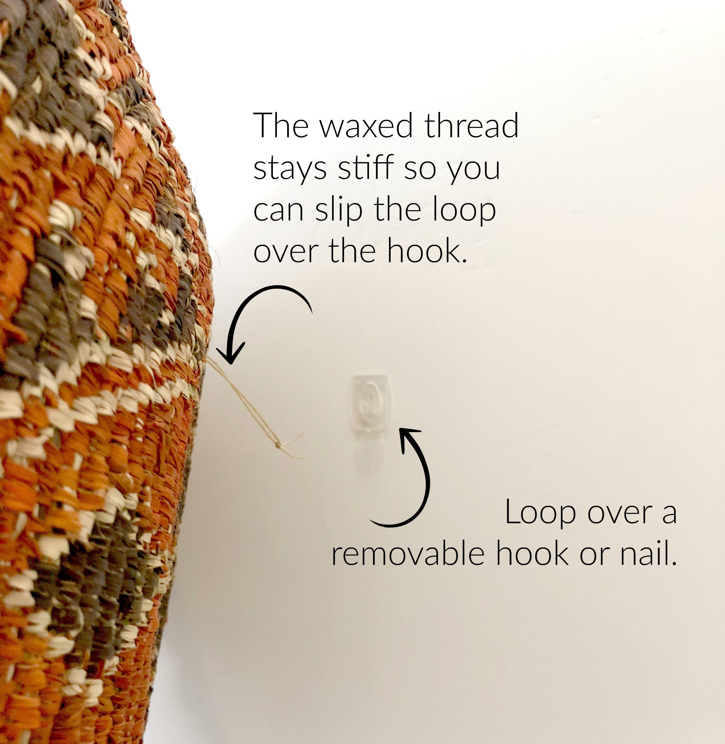 how to hang woven baskets