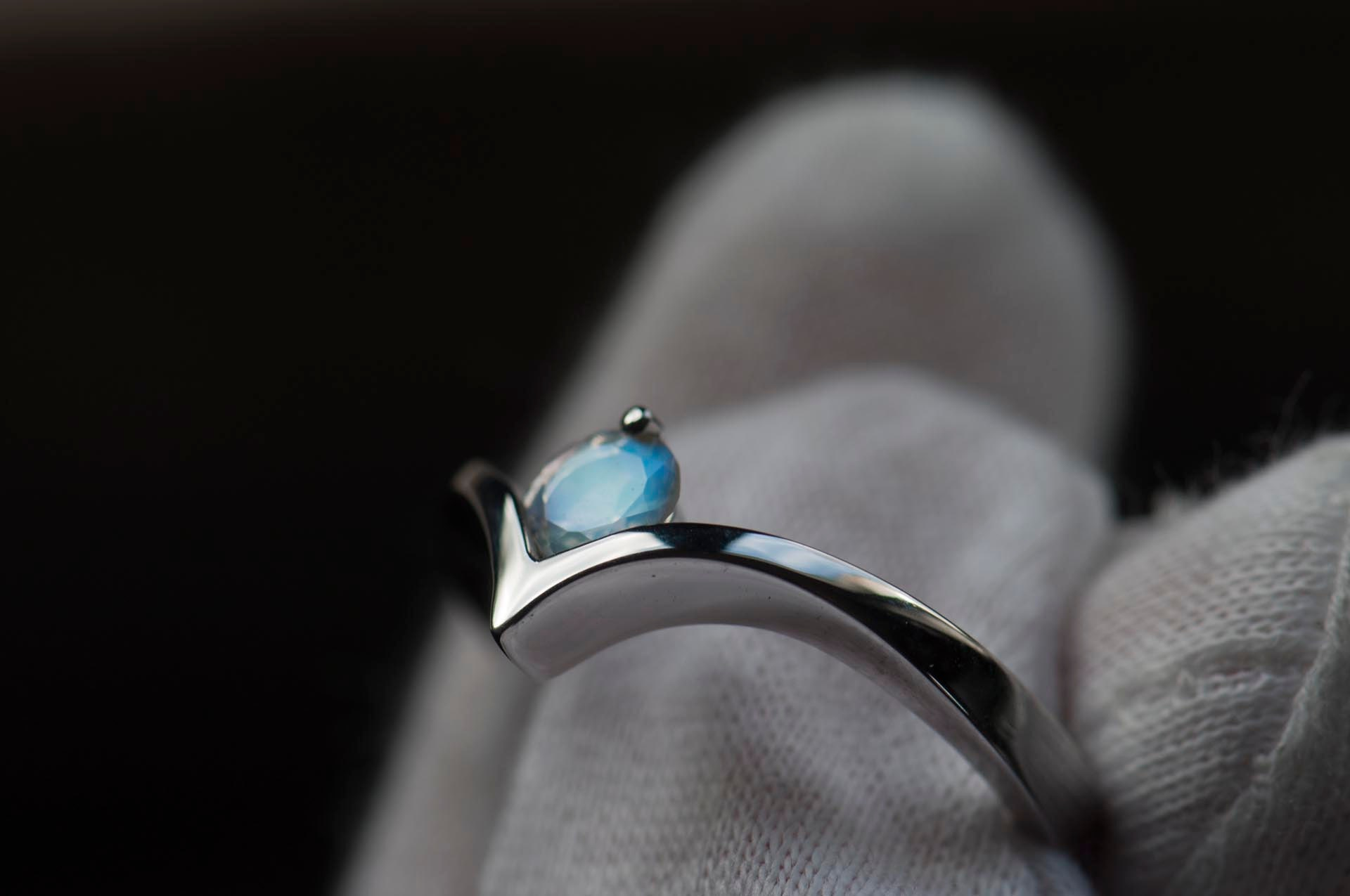 Blue moonstone set in a white gold ring