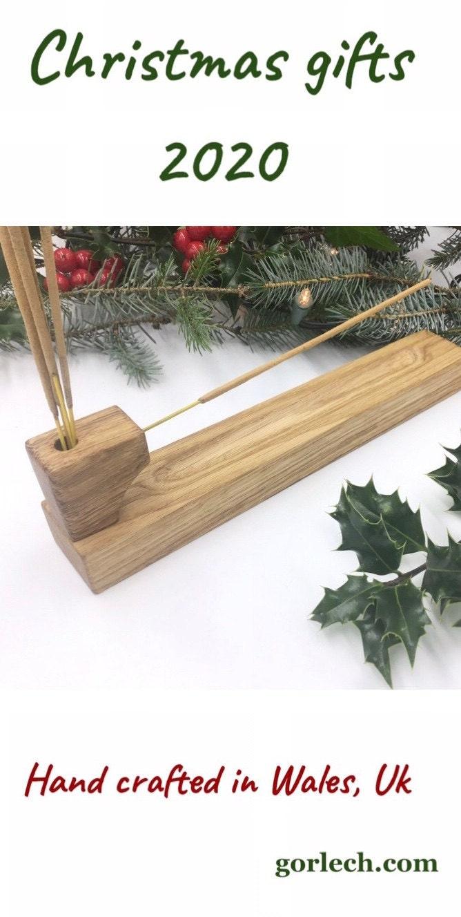 Oak wood incense stick holder with incense stick storage pot