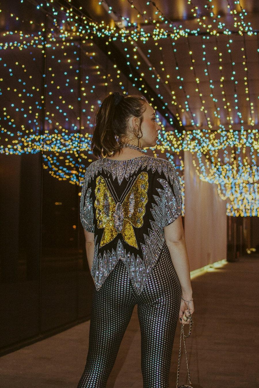 disco vintage sequins blouse
