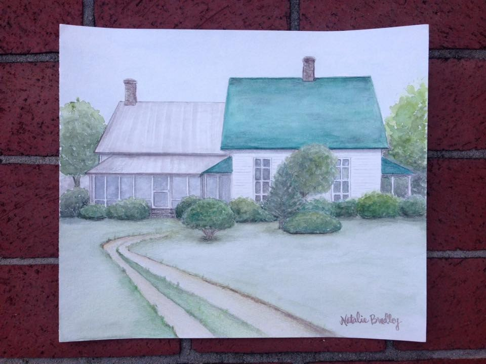 home watercolor illustration by Natalie Bradley