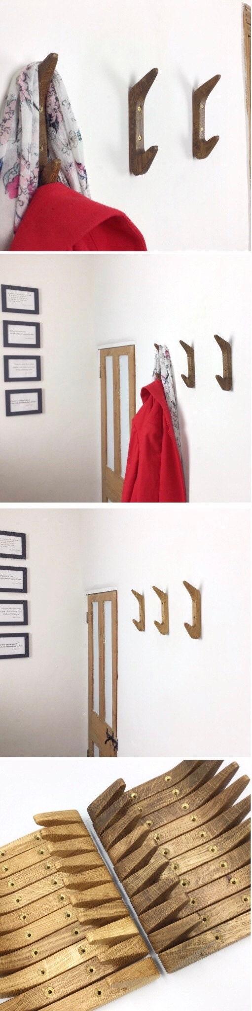 Gorlech double coat hooks in light and dark Oak wood, handcrafted in Wales, UK