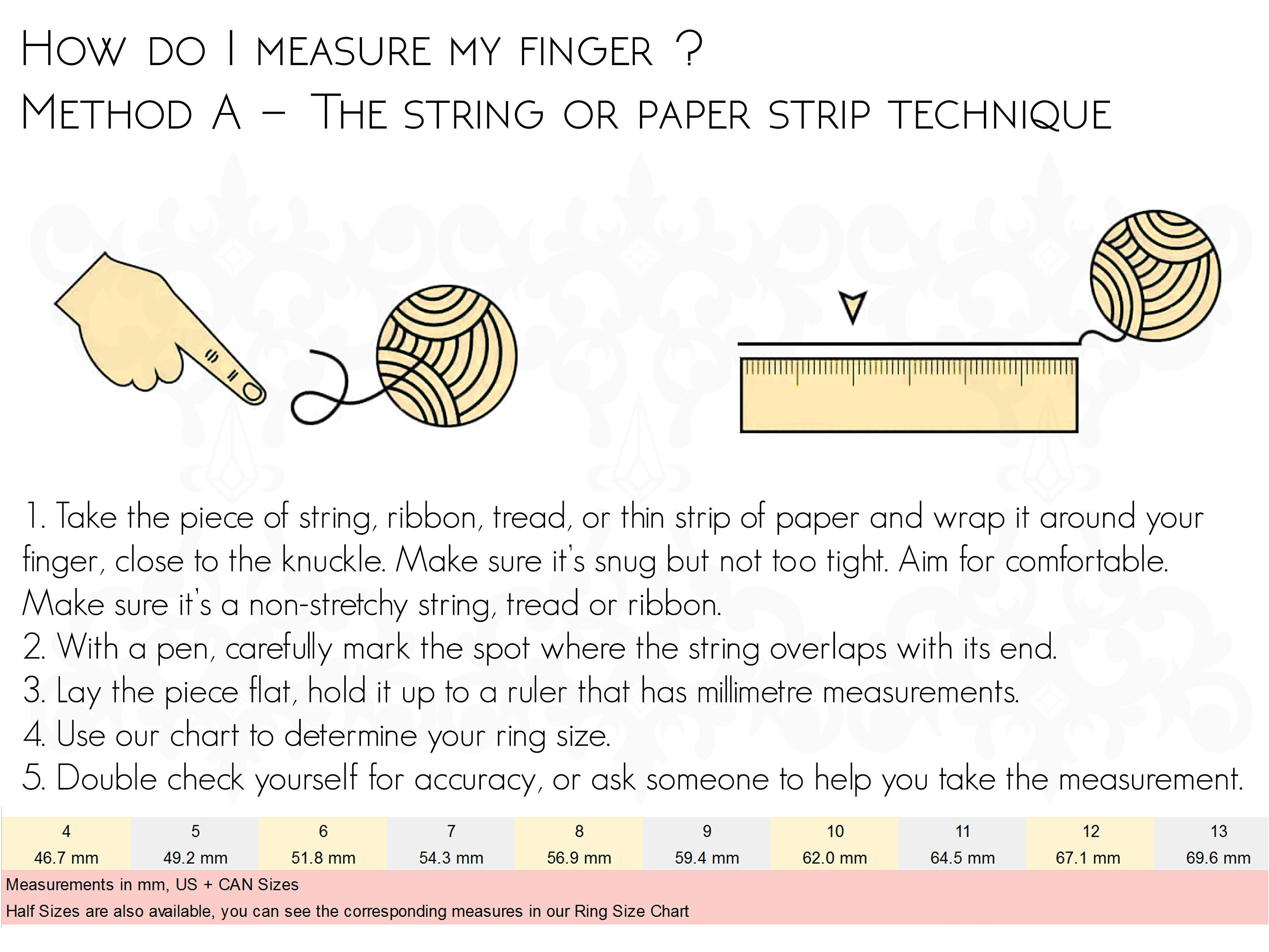 ring size chart measurement string method