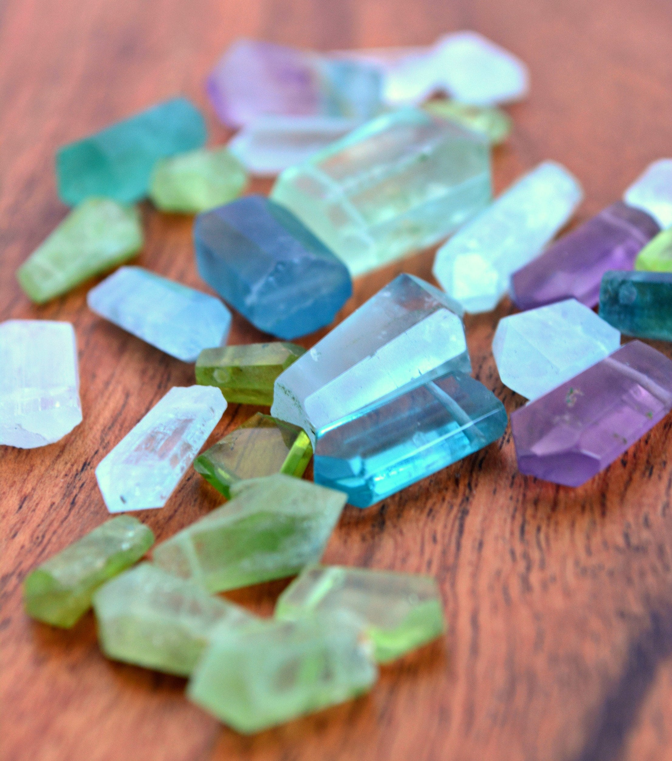 Beautiful Raw Crystal gemstones in Fluorite, Peridot and Aquamarine, perfect for that one of a kind jewelry piece