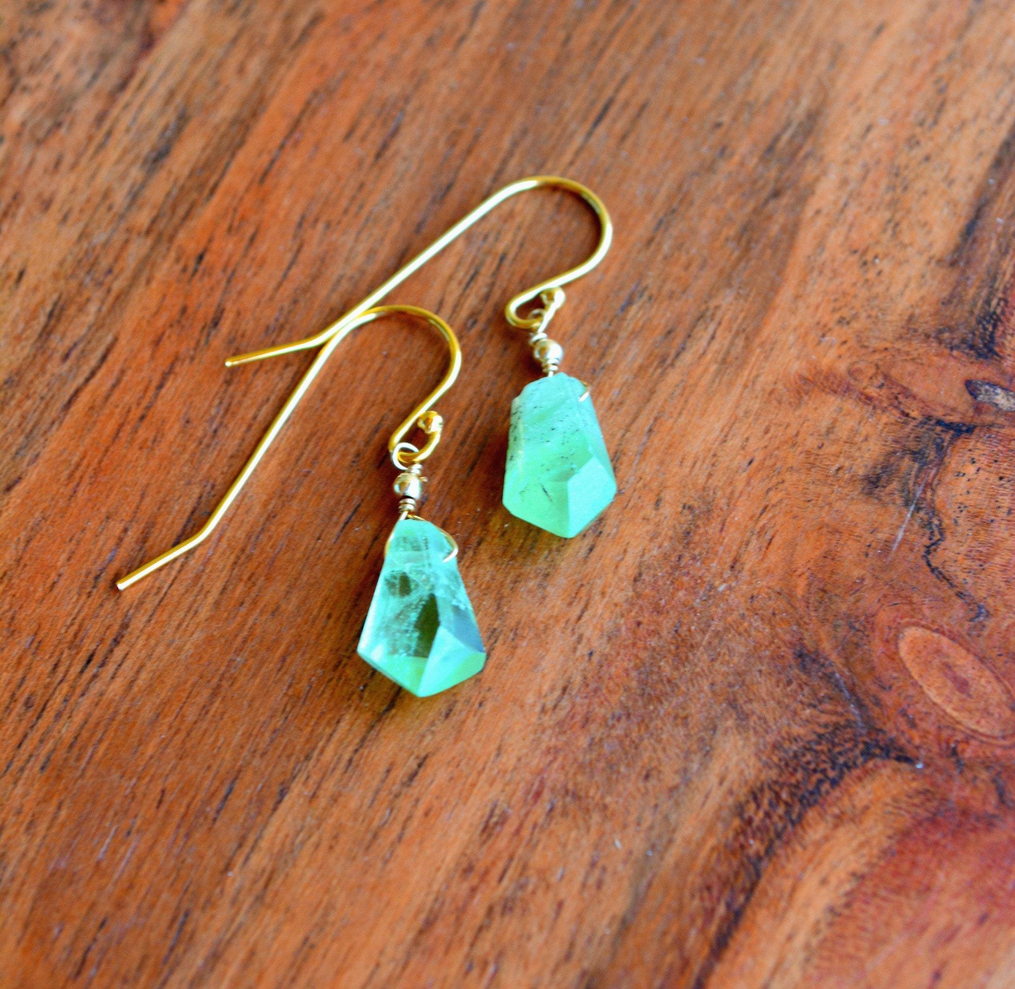 Fabulous Raw Peridot Crystal Earrings