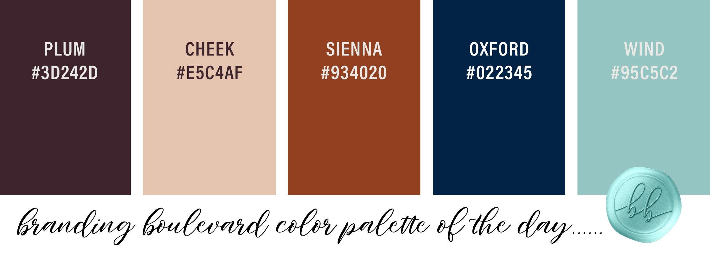 A Hint of Autumn Color Palette - Color Palette of the Day - Plum (Deep Purple), Cheek (Skin-tone Peach), Burnt Sienna (Rust Terracotta Orange), Oxford (Navy Blue), and Wind (Aqua)