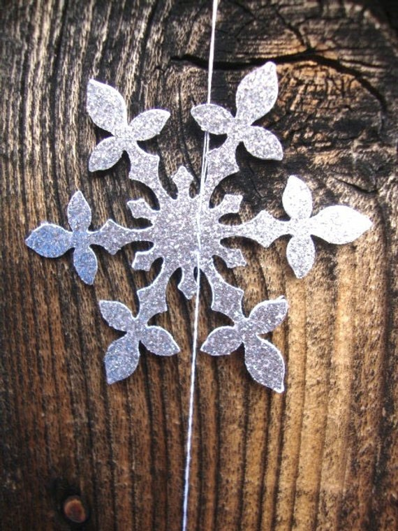 Silver glitter hanging snowflakes