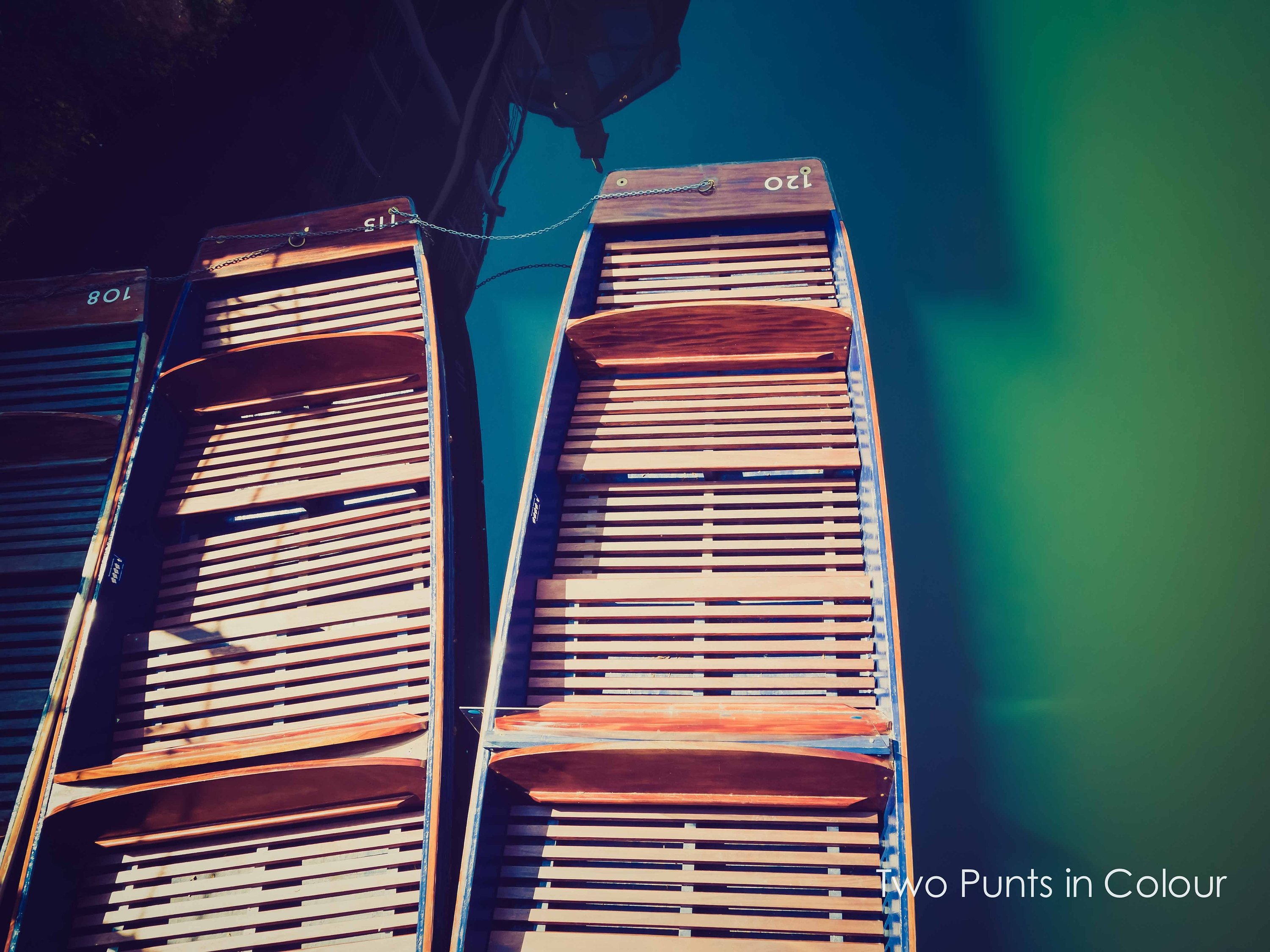colour fine art print and wall art of two empty punts lined up on the River Cam in Cambridge