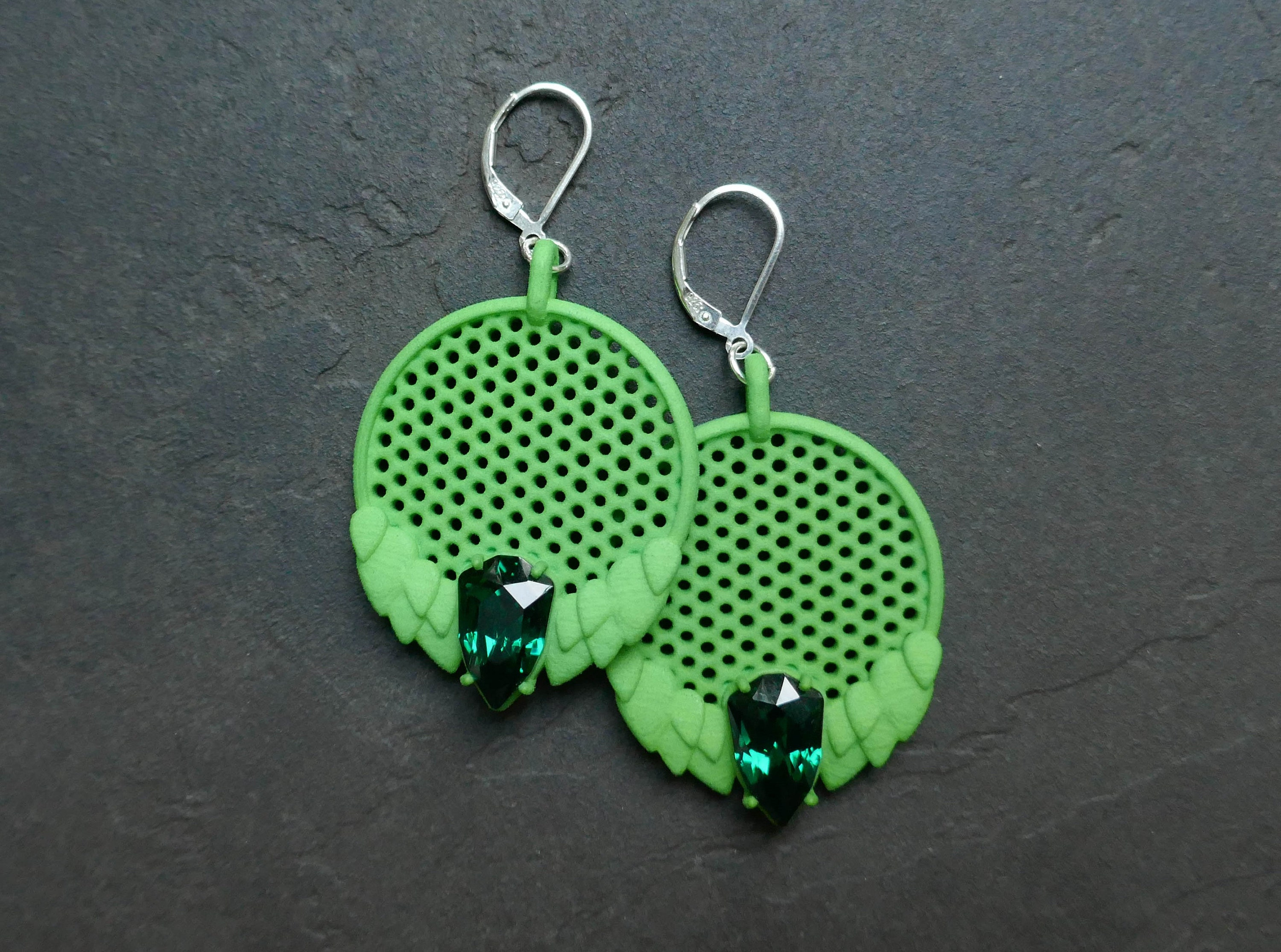 3D Printed Green Earrings with Swarovski Crystals