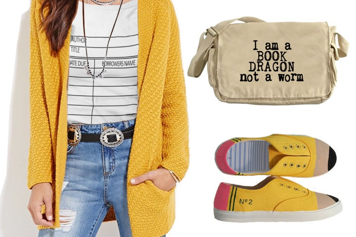 Library Due Date Card T-shirt, No.2 Pencil Shoes and Bookish Messenger Bag