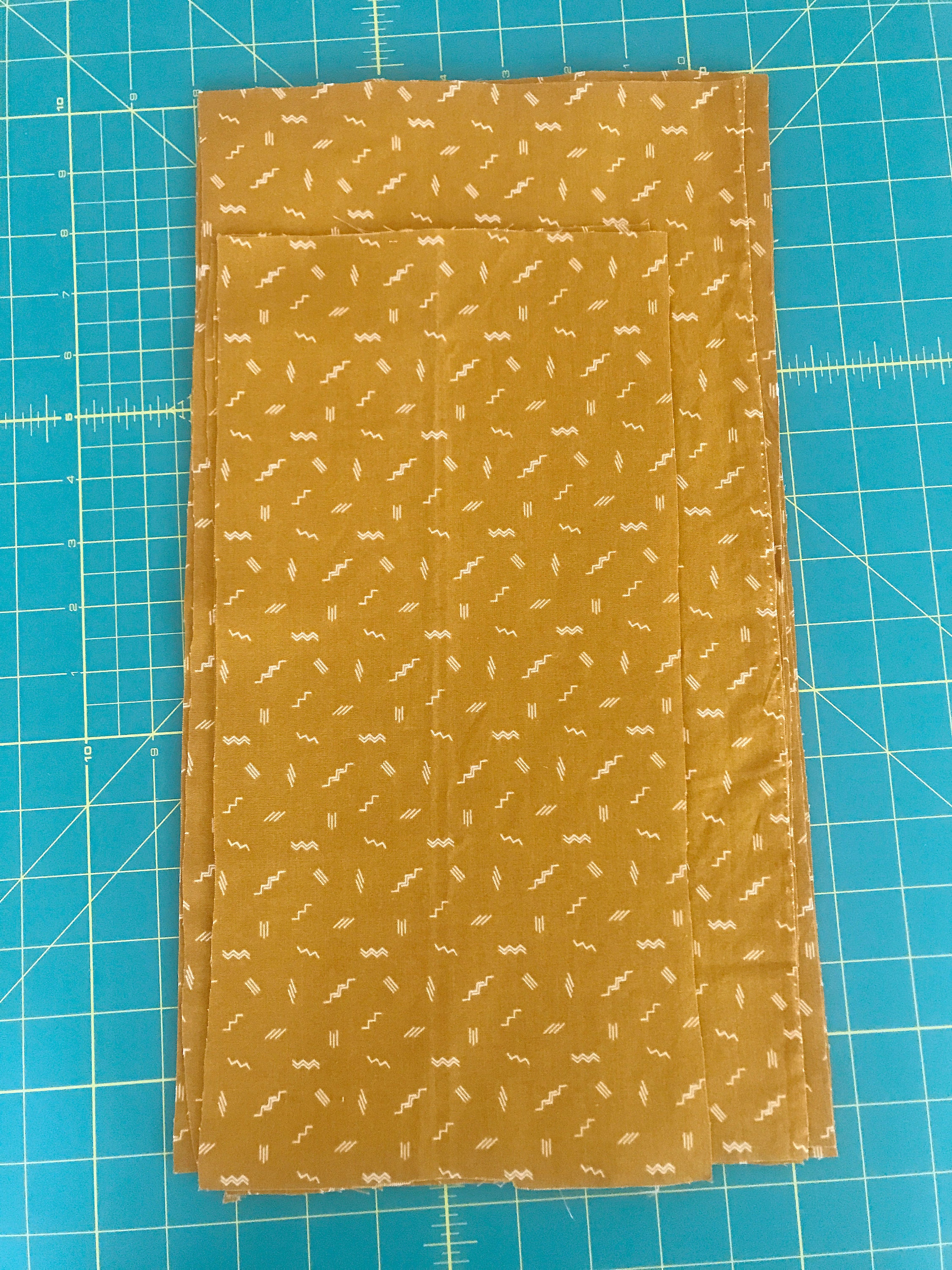 Figo Fabric Treehouse Zigzag in Ochre for pleated masks.