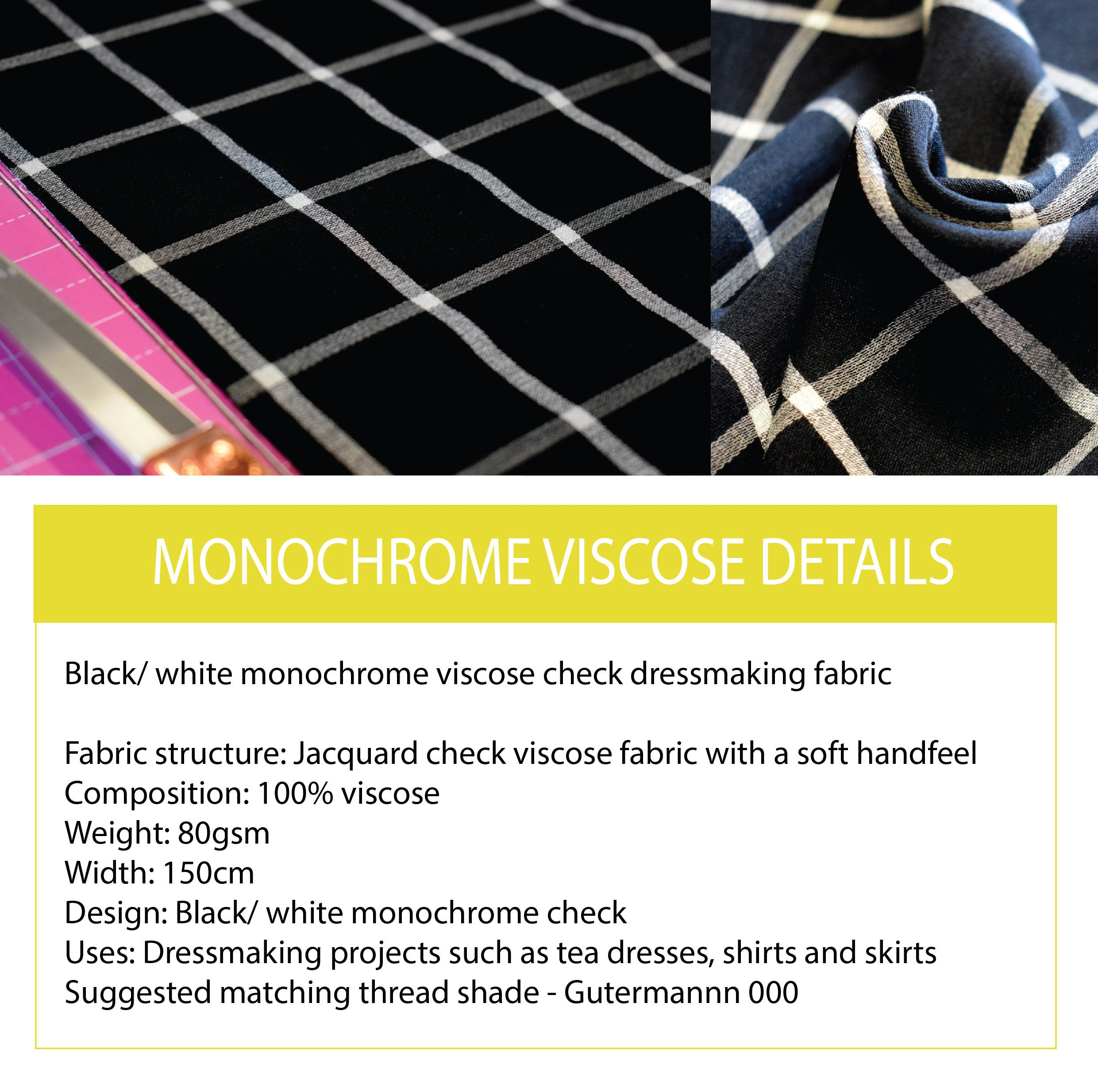 90s viscose check fabric black viscose fabric