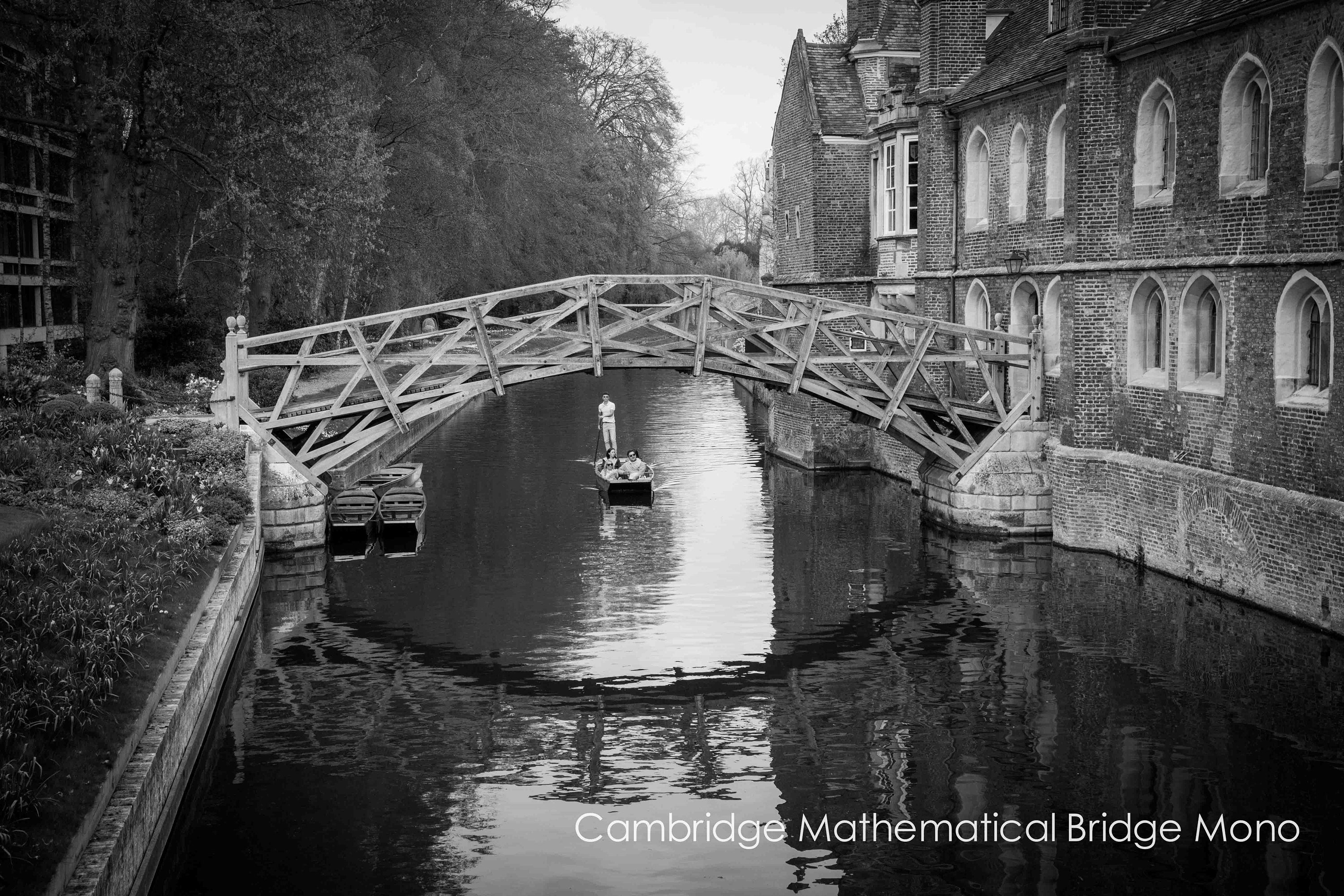 black and white limited edition print of punting on the river Cam in Cambridge in various sizes, unframed signed limited editions or ready to hang wall art