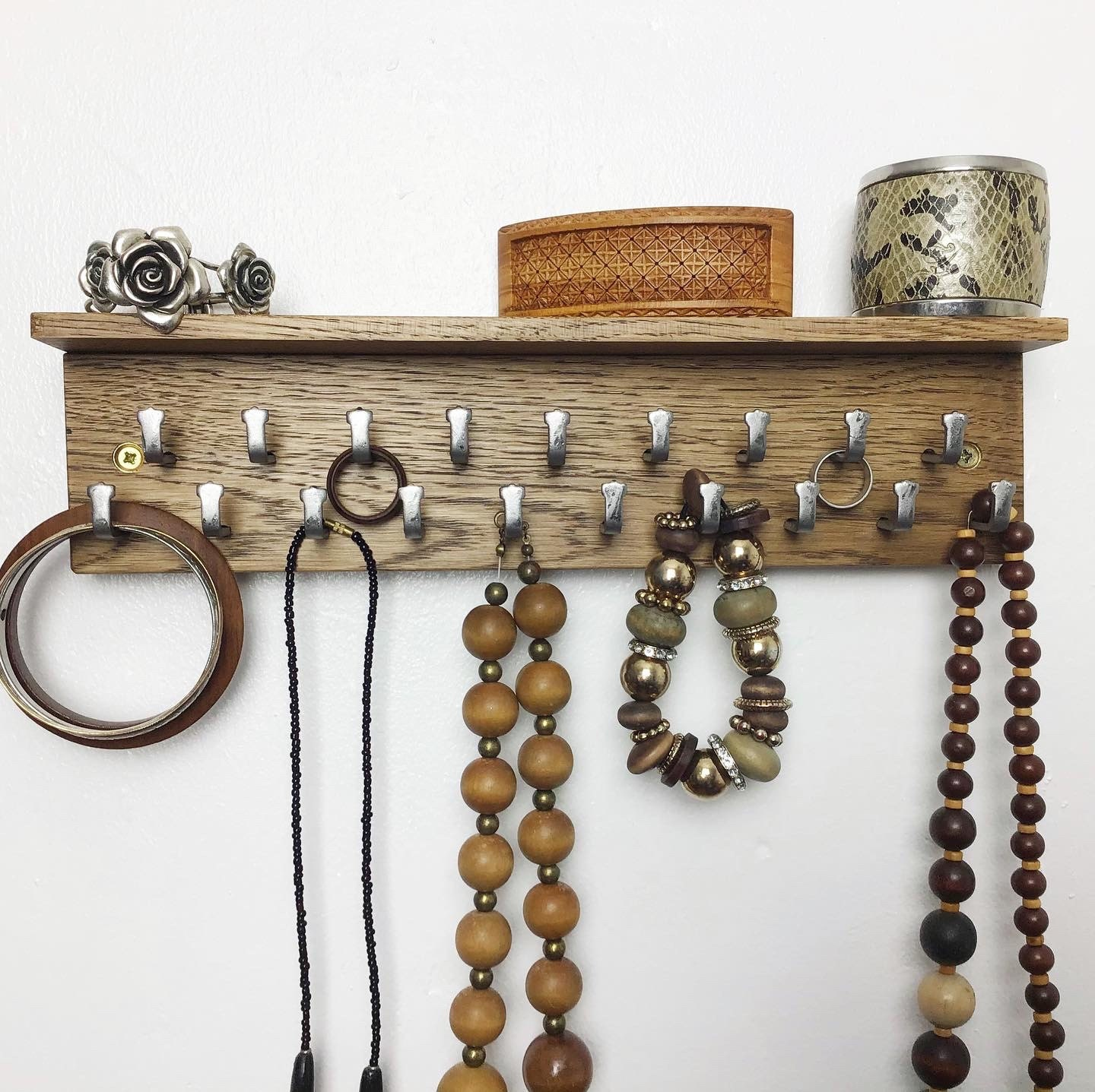 Dark Oak wood Jewellery Display Rack by gorlech UK