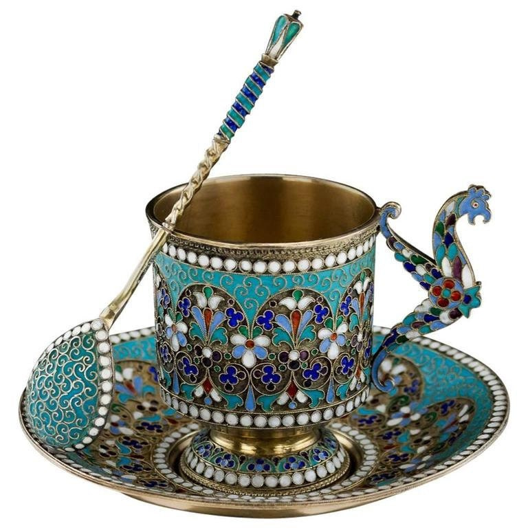 Antique Imperial Russian Solid Silver Enamel Cup Saucer Spoon, circa 1890