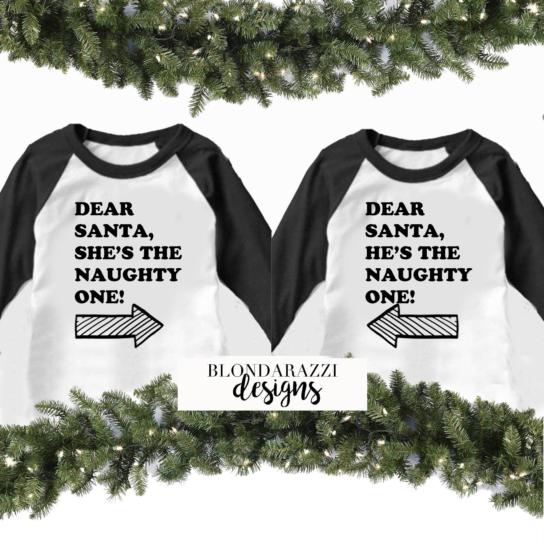 christmas raglan matching funny tshirts dear santa hes the naughty one