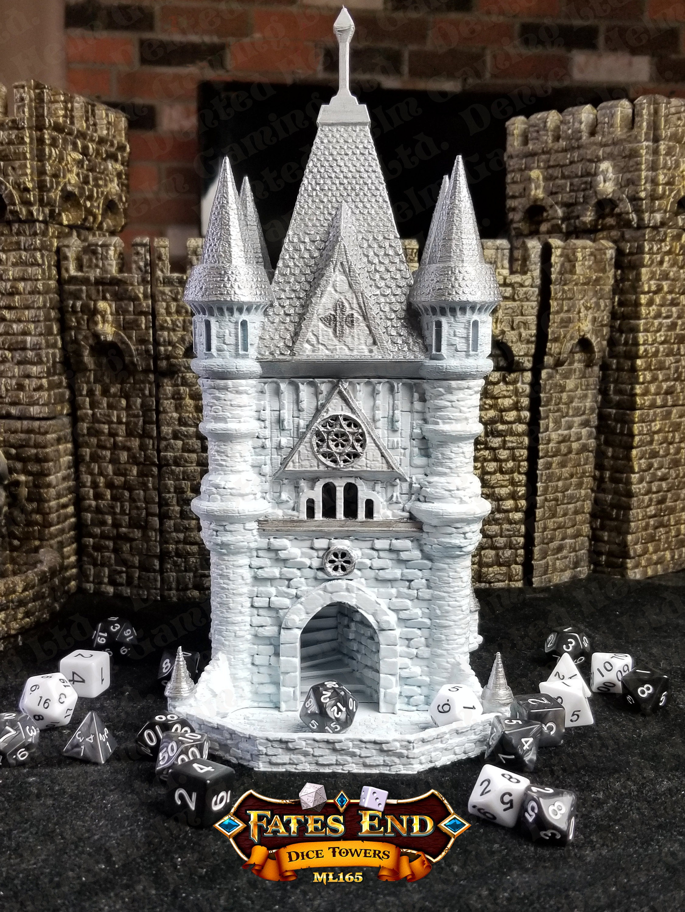 white and silver painted cleric tower