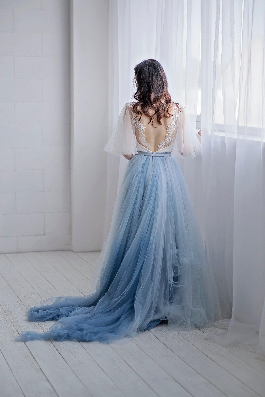 Blue ombre bridal skirt