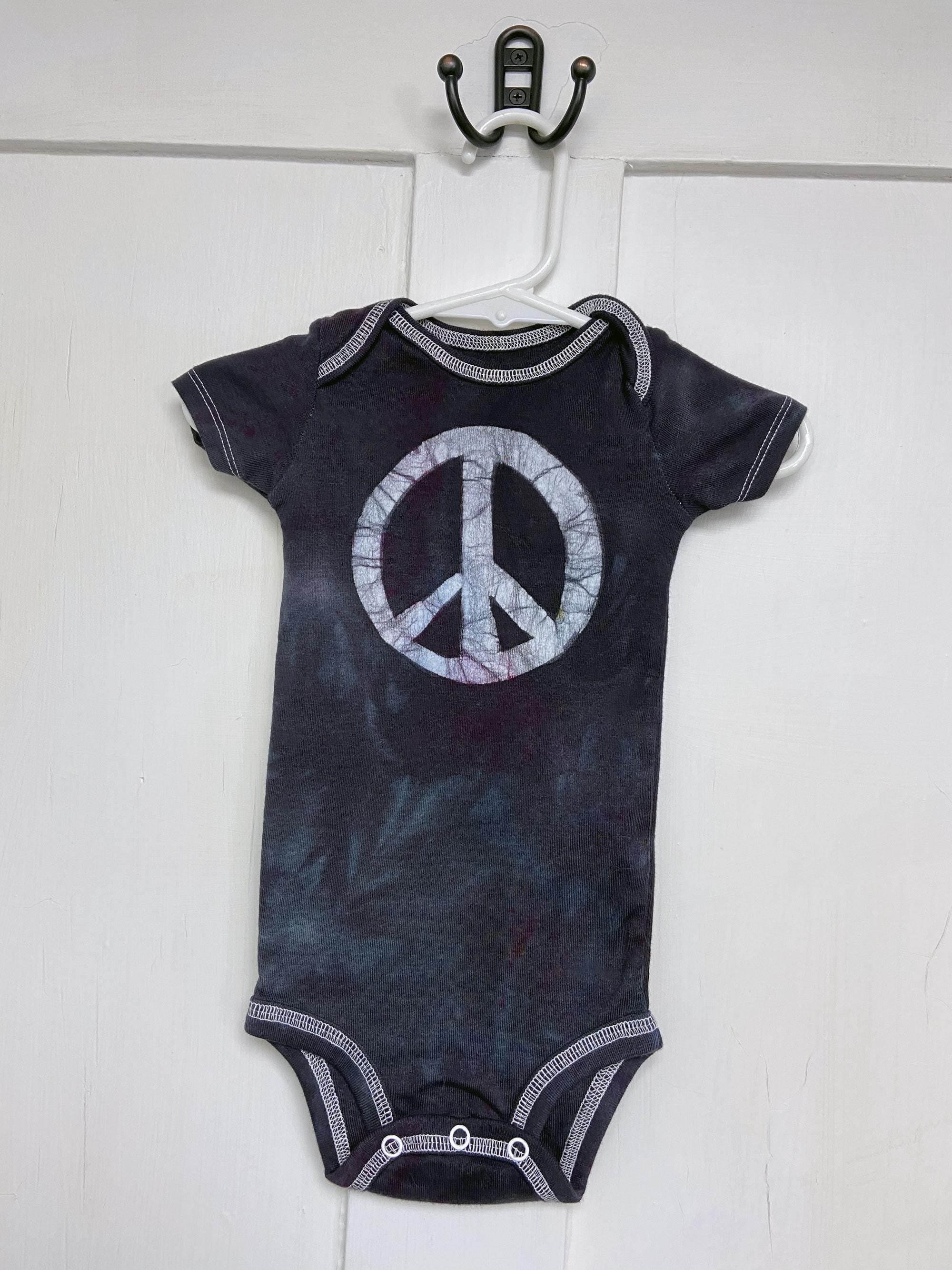 12 month peace sign bodysuit by Peace, Baby! Batiks