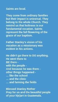 Bl Stanley Rother Prayer Card back