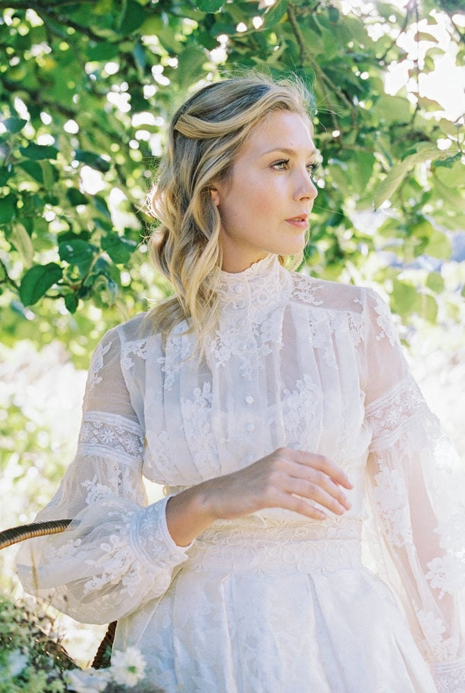 High Neck French Lace Bridal Blouse
