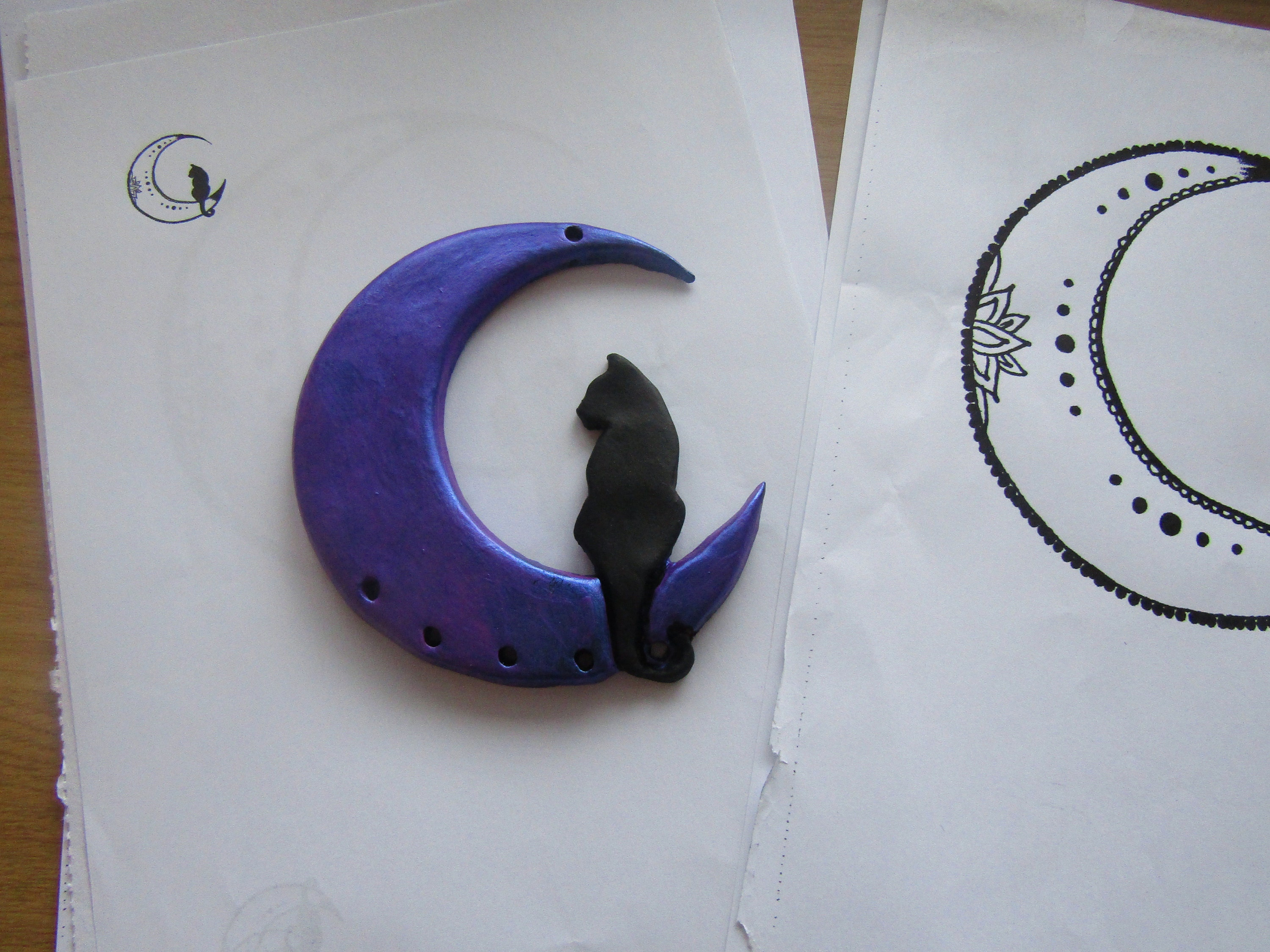 Cat on the moon - A wall hanging work in progress