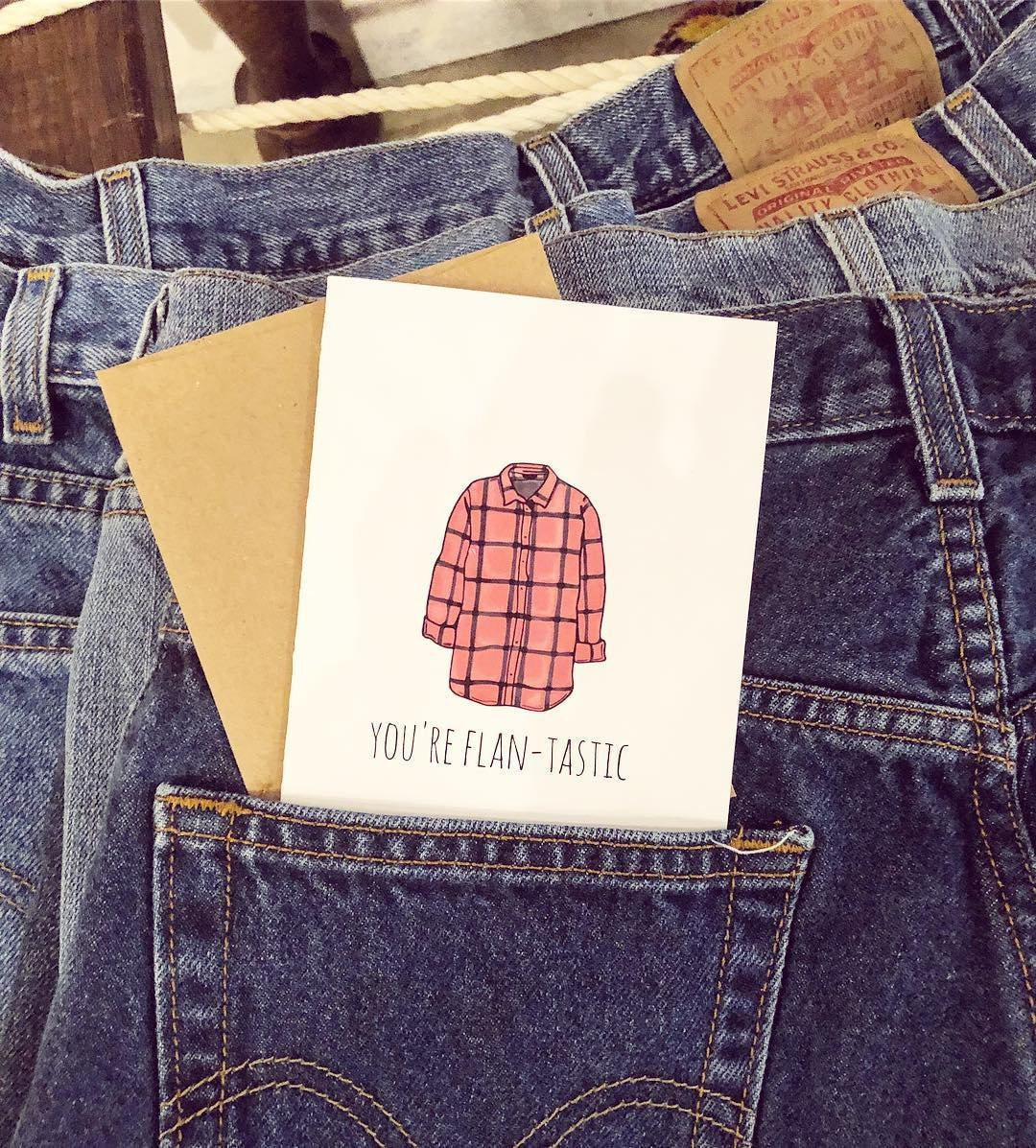 levis, flannel, cards, greeting cards, shop small, womenowned
