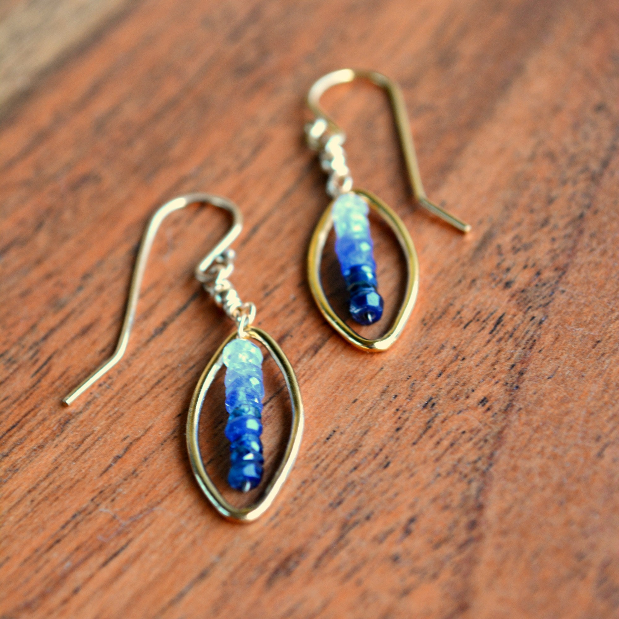 Stunning faceted ombre Sapphires white to blue in 14k Gold filled Marquis hoops