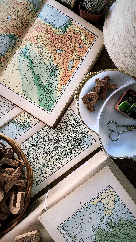 Mendez Manor vintage maps gift wrap