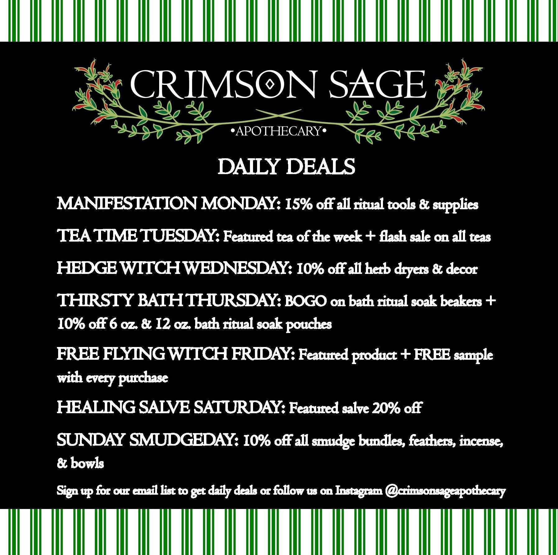 Subscribe to our coven for daily deals & coupons! https://mailchi.mp/6d4155bf10c1/crimsonsageemail