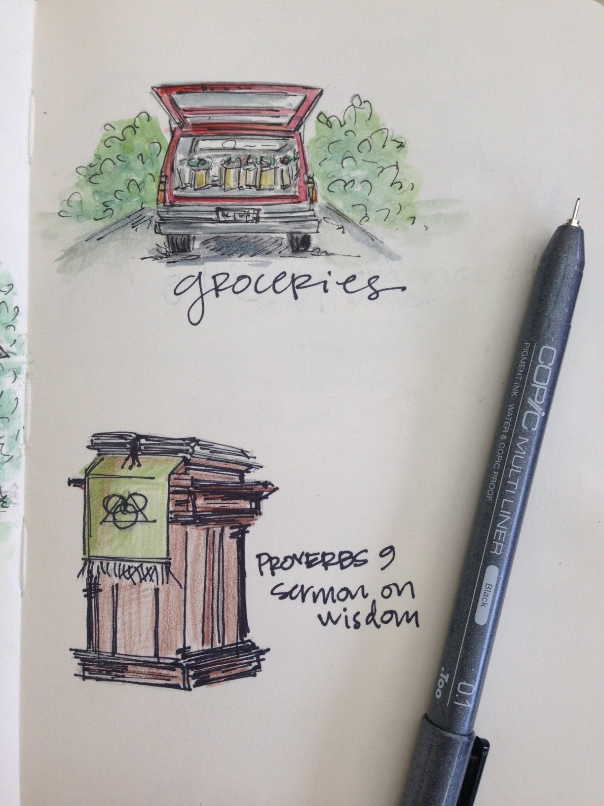 sketchbook everyday items and activities