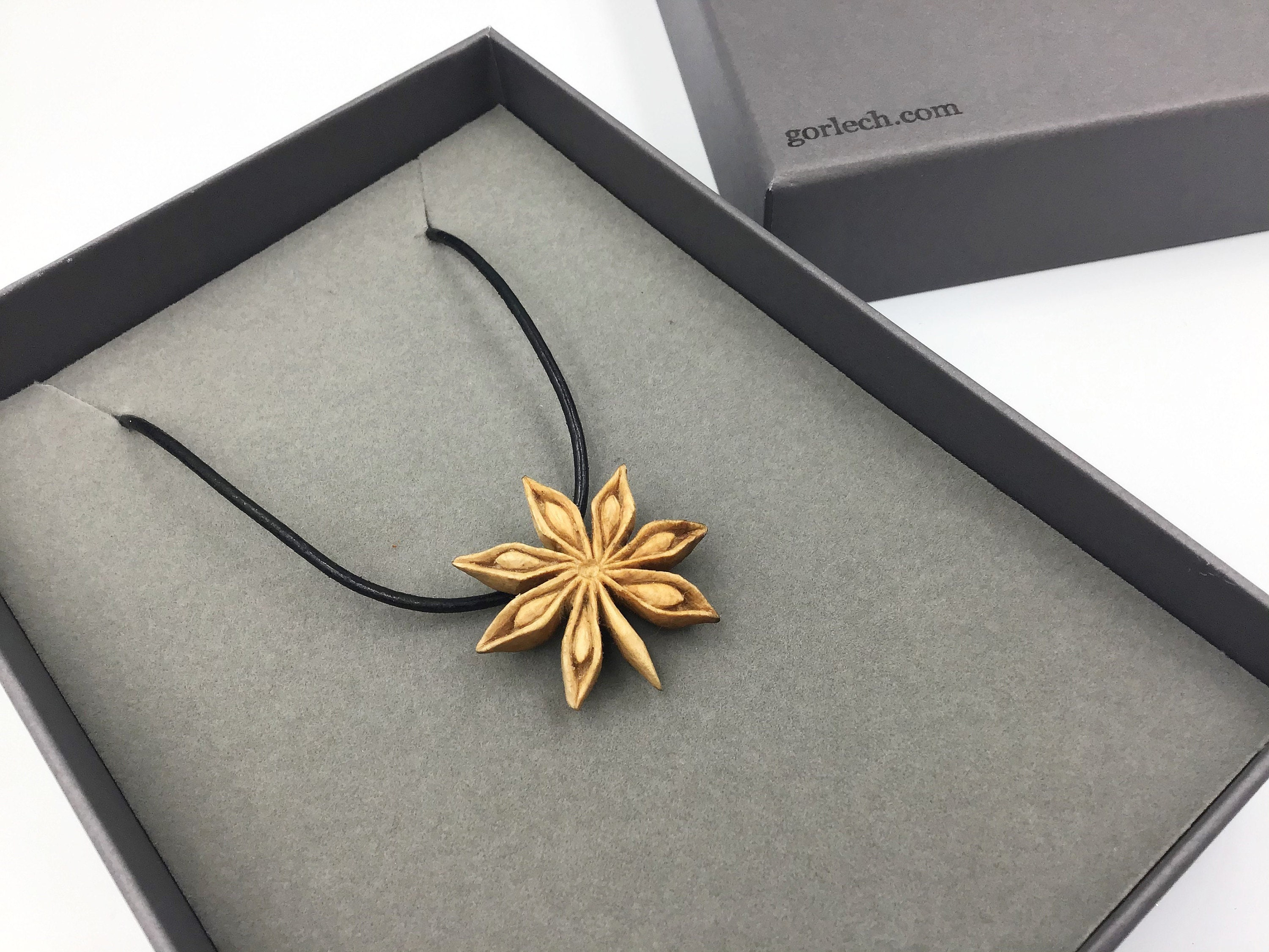 Star Anise hand carved pendant - Gorlech Wales UK